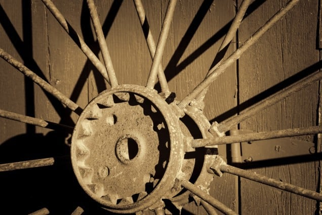 Iron Wheel and Red Barn photographed by Jeff Wendorff