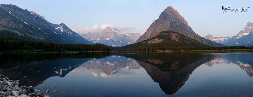 Panorama of Swift Currrent Lake at Many Glaciers, Glacier National Park photographed by Jeff Wendorff
